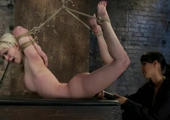 Blond tied into modified Category 4 HogtiedSucks cock, punished not far from the last straw of their way flexibility!