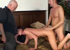 Wild brunette ripen into angry milf swinger takes atop 2